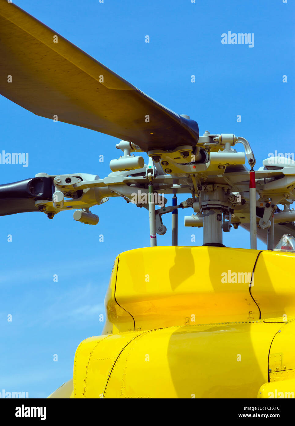 Close-up of a yellow helicopter - Stock Image