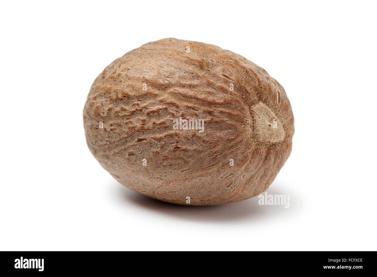 Single nutmeg kernel on white background - Stock Image