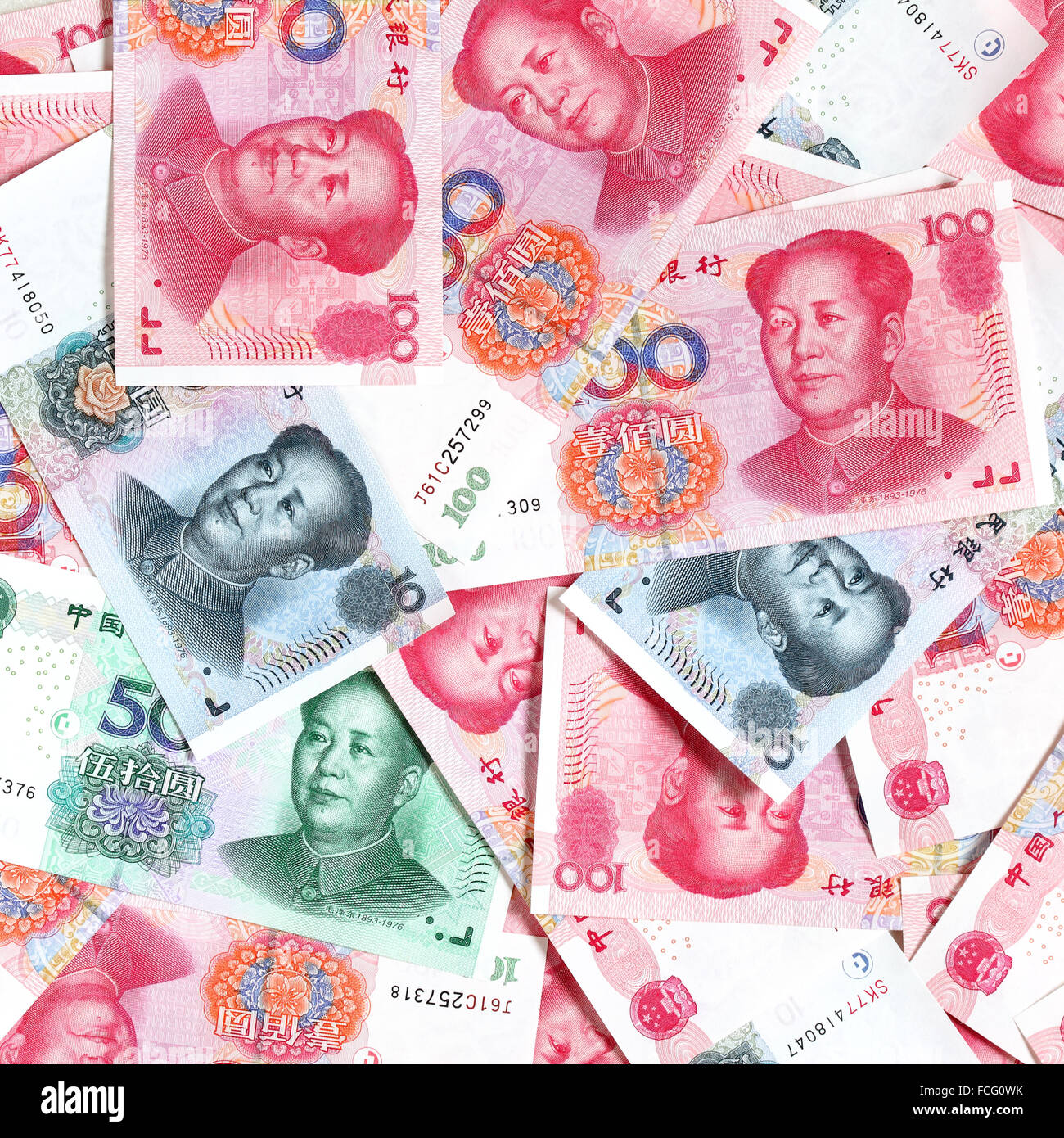 Mass of chinese yuans close-up - Stock Image