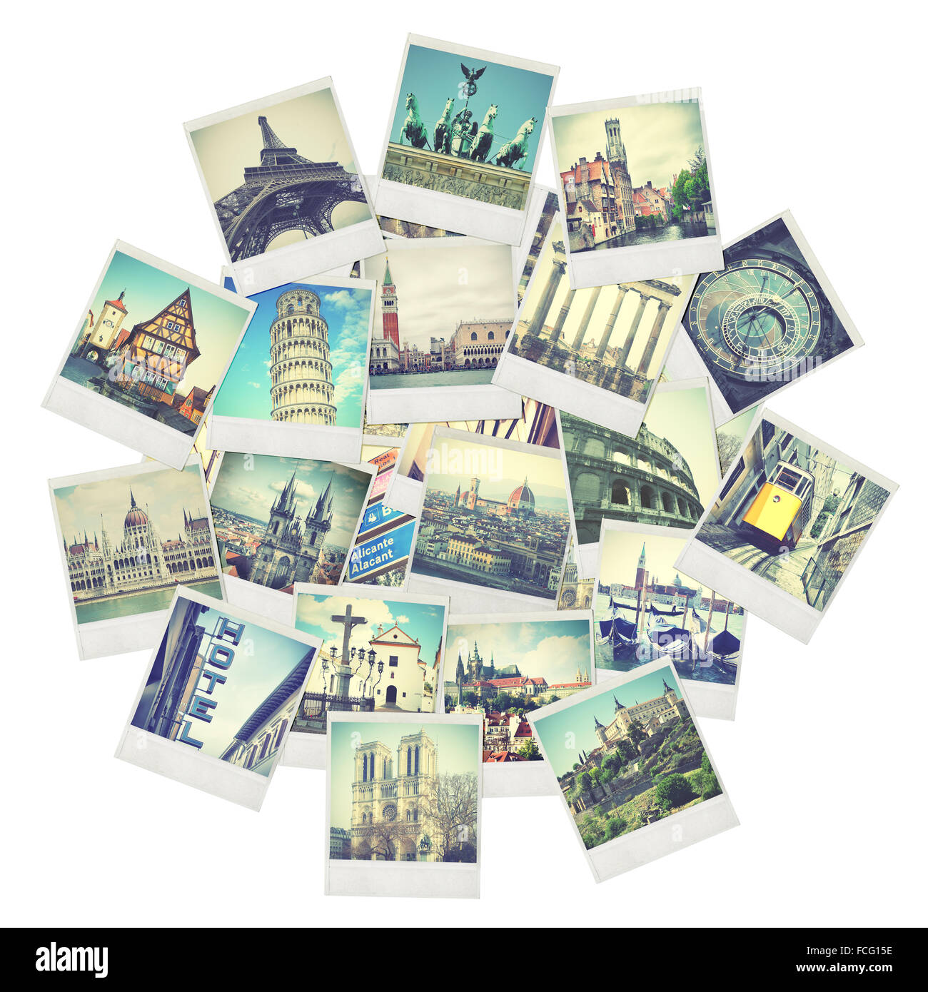 Old instant travel photos of Europe - Stock Image