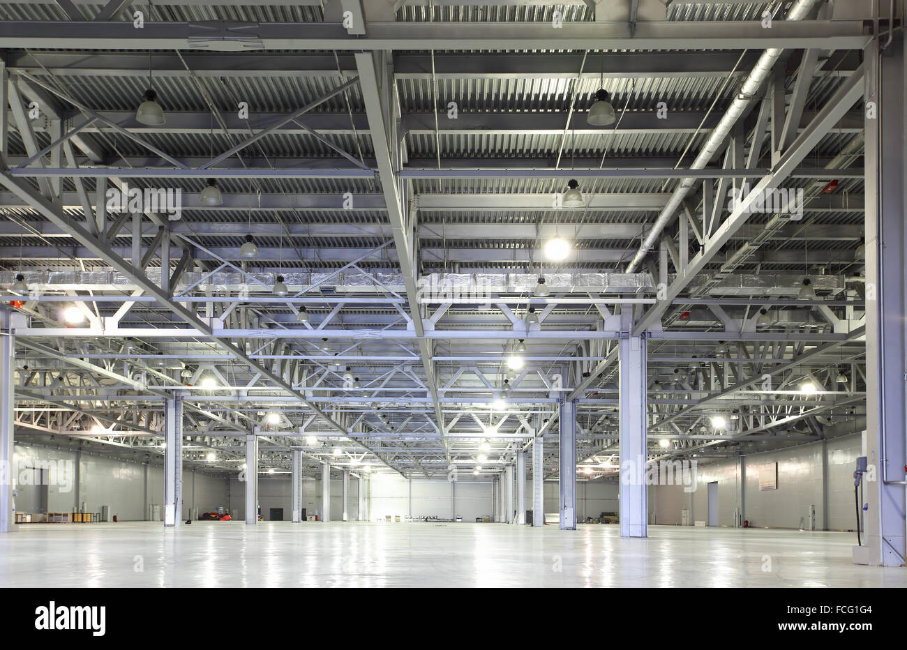 Interior of huge empty storehouse Stock Photo
