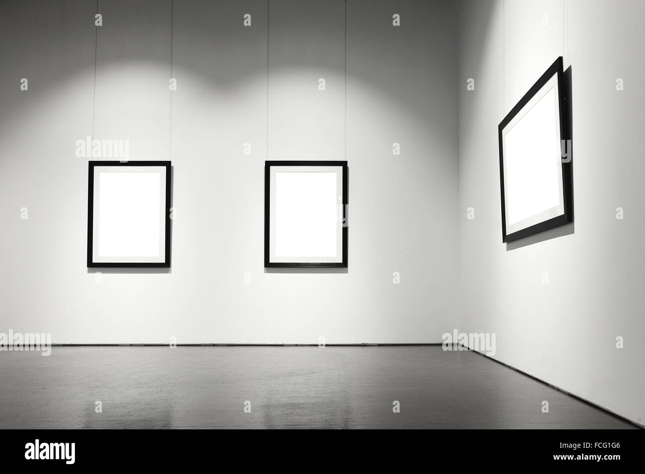 Exhibition hall with empty frames on wall Stock Photo: 93780182 - Alamy
