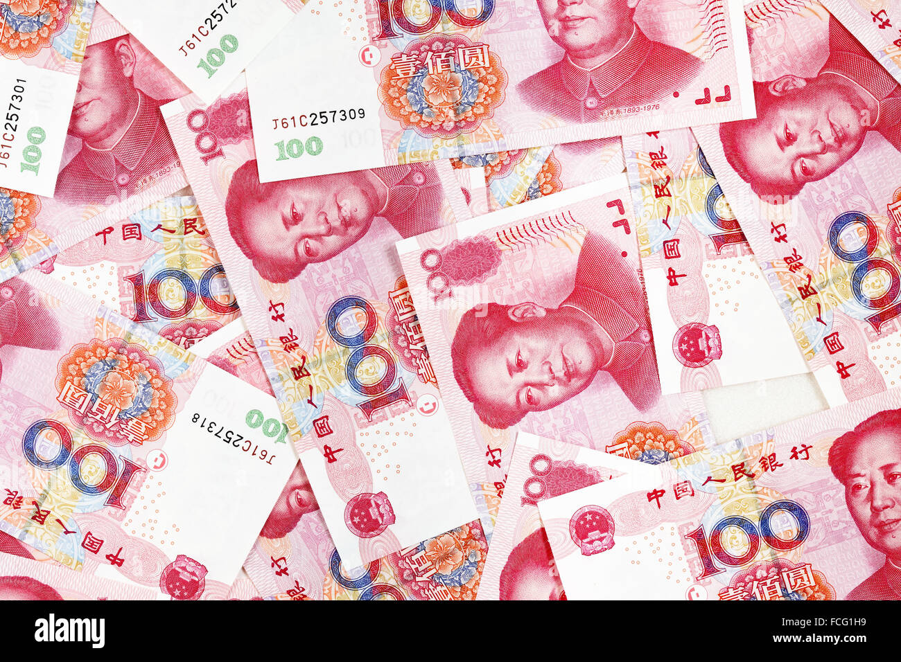 Chinese yuan banknotes close up - Stock Image