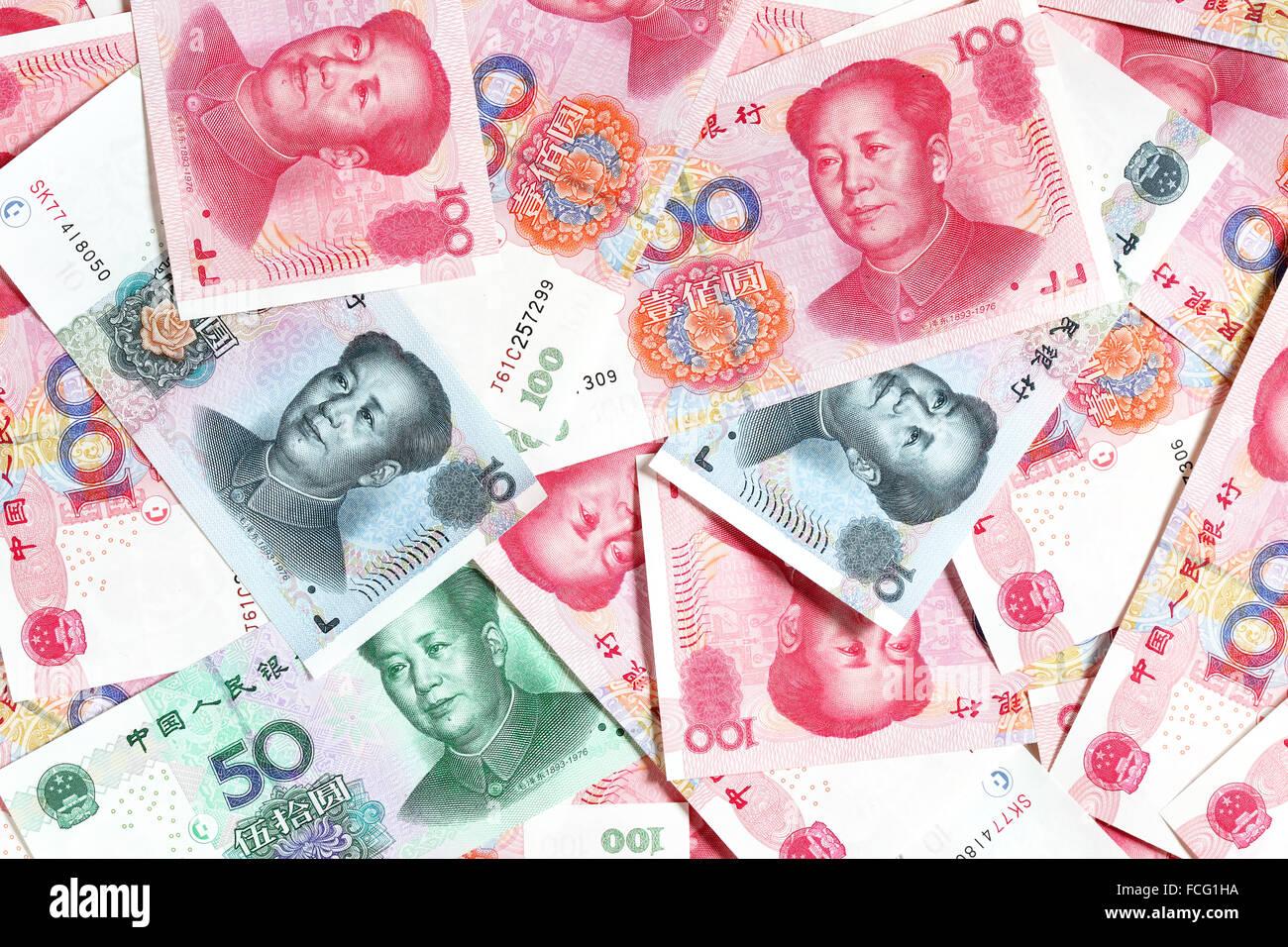 Heap of chinese yuans close-up - Stock Image