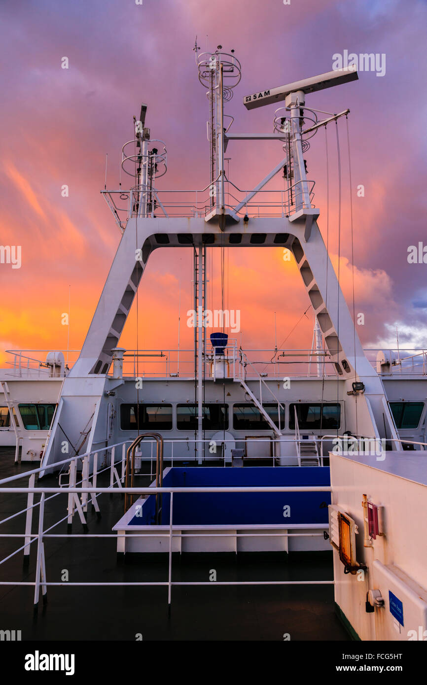 On board the cargo ship Primula in the North Sea as the sunrises January 2015 - Stock Image