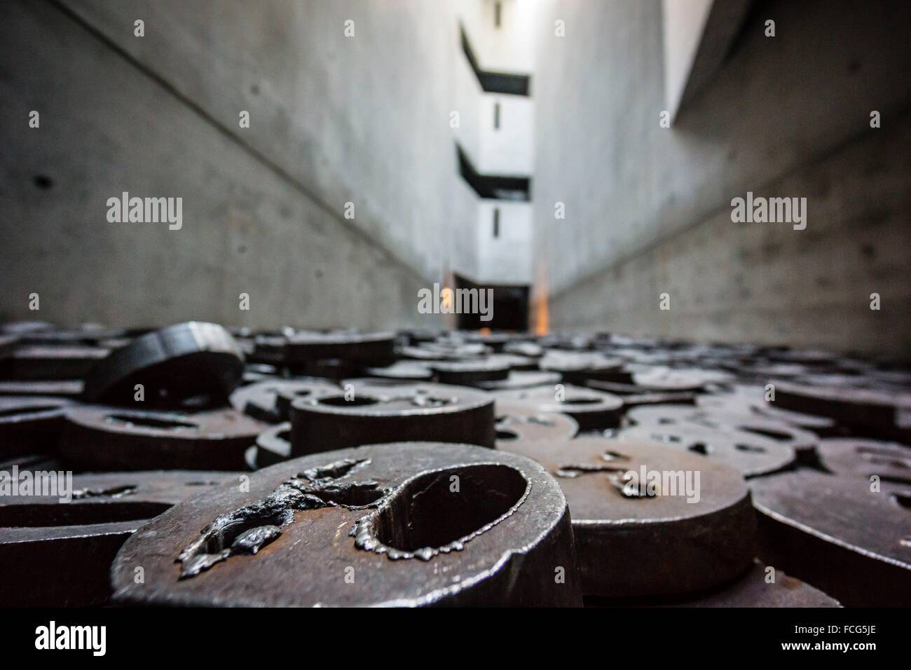 Shalechet (fallen leaves), art installation by Menashe Kadishman, Jewish Museum (architect: Daniel Libeskind) , Stock Photo