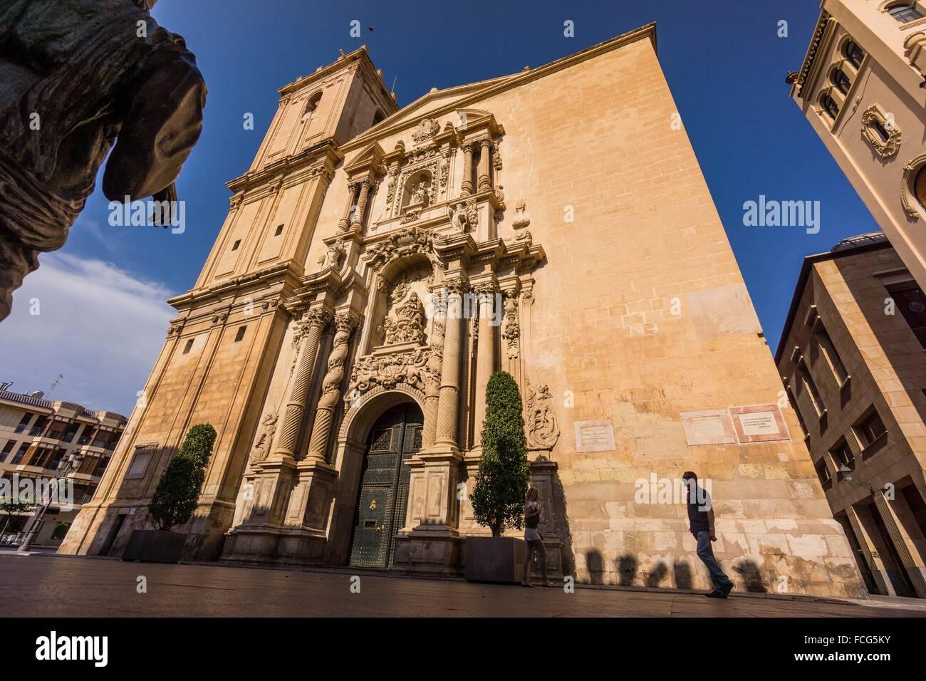 Basilica de Santa Maria, siglo XVII, fachada principal obra del escultor Nicolas de Bussy,barroco valenciano, Elche, - Stock Image