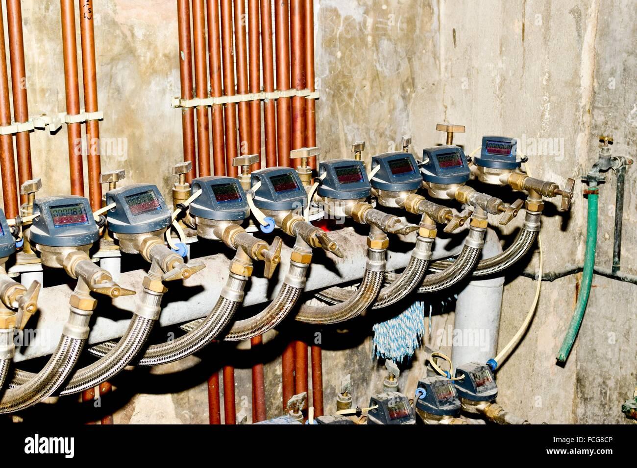 Water metering. Digital battery water meter Stock Photo - Alamy [ 956 x 1300 Pixel ]