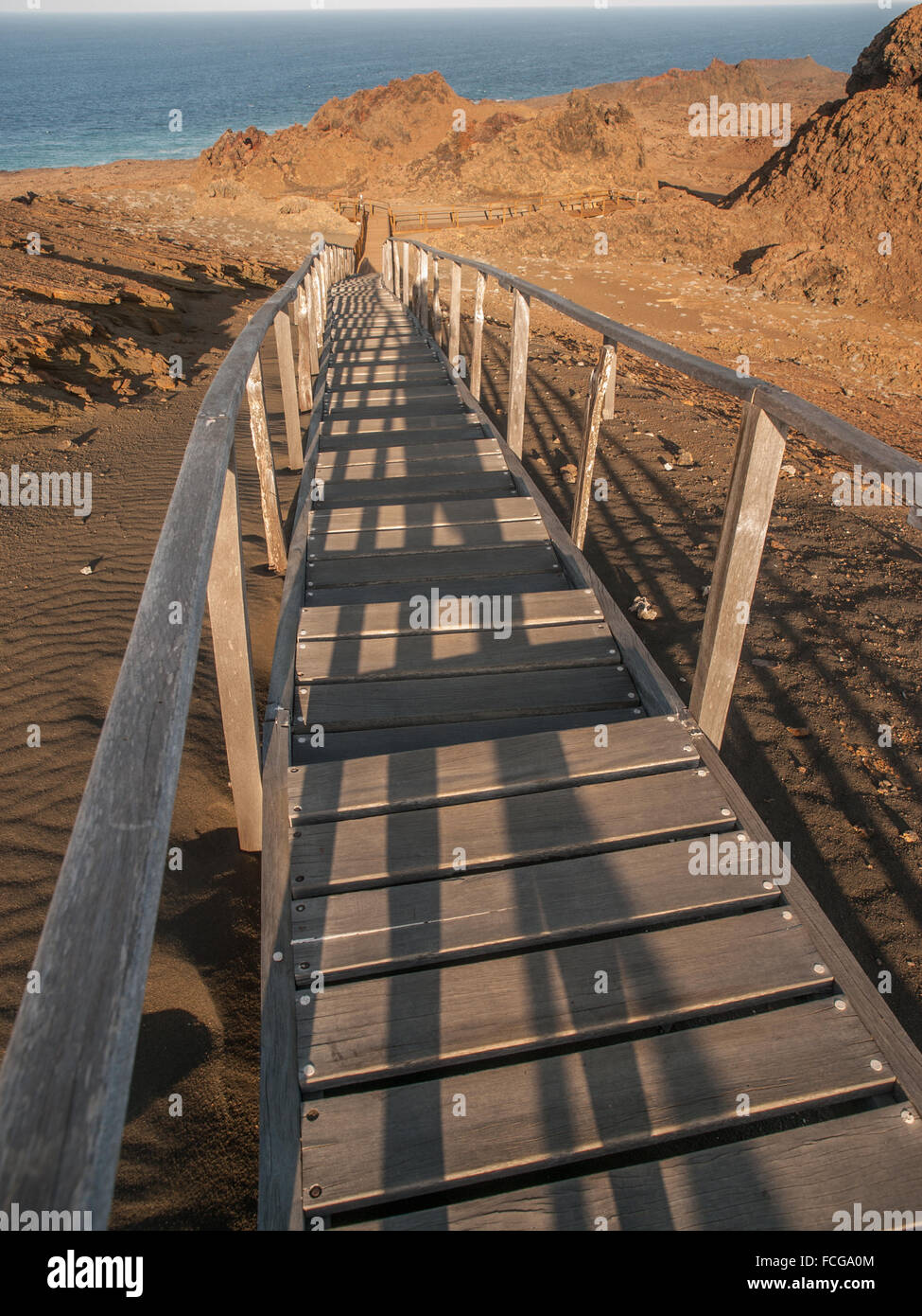 Wooden plank boardwalk with railing climbing uphill to a ...