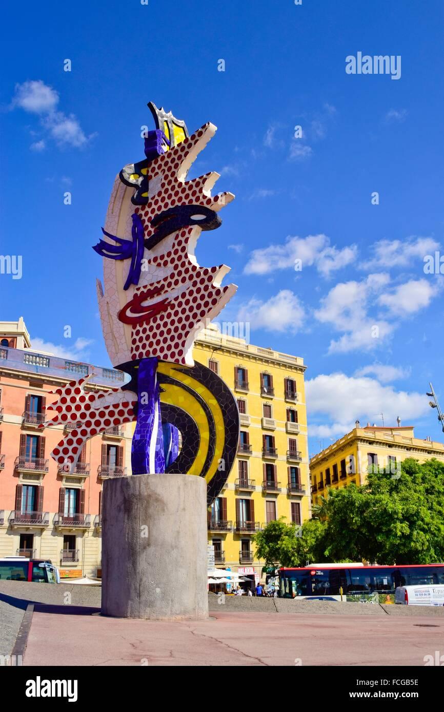 El Cap de Barcelona, Barcelona head. Pop Art sculpture by Roy Lichtenstein. Moll de la Fusta, Barcelona, Catalonia, - Stock Image