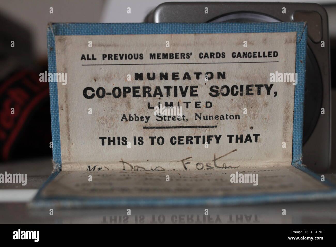co-operative society members card - Stock Image