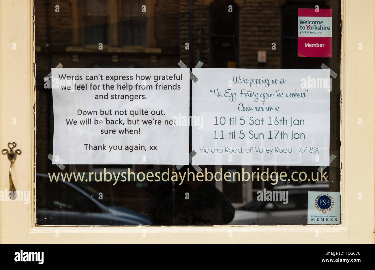 "Thank you messages from some of the shop owners affected by the ""Boxing Day"" floods in Hebden Bridge Stock Photo"