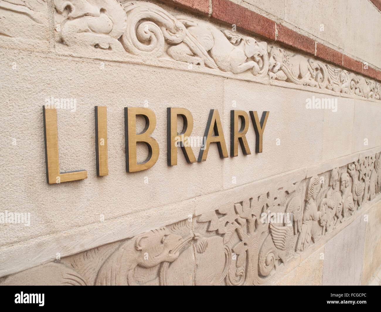 Exterior wall of the Library at UCLA in Westwood, Los Angeles, California, USA. - Stock Image