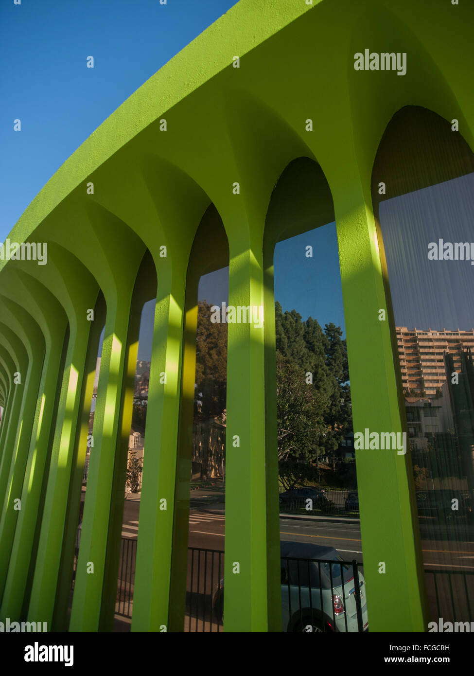 Abstract of round lime green building in Hollywood, Los Angeles, California, USA. - Stock Image