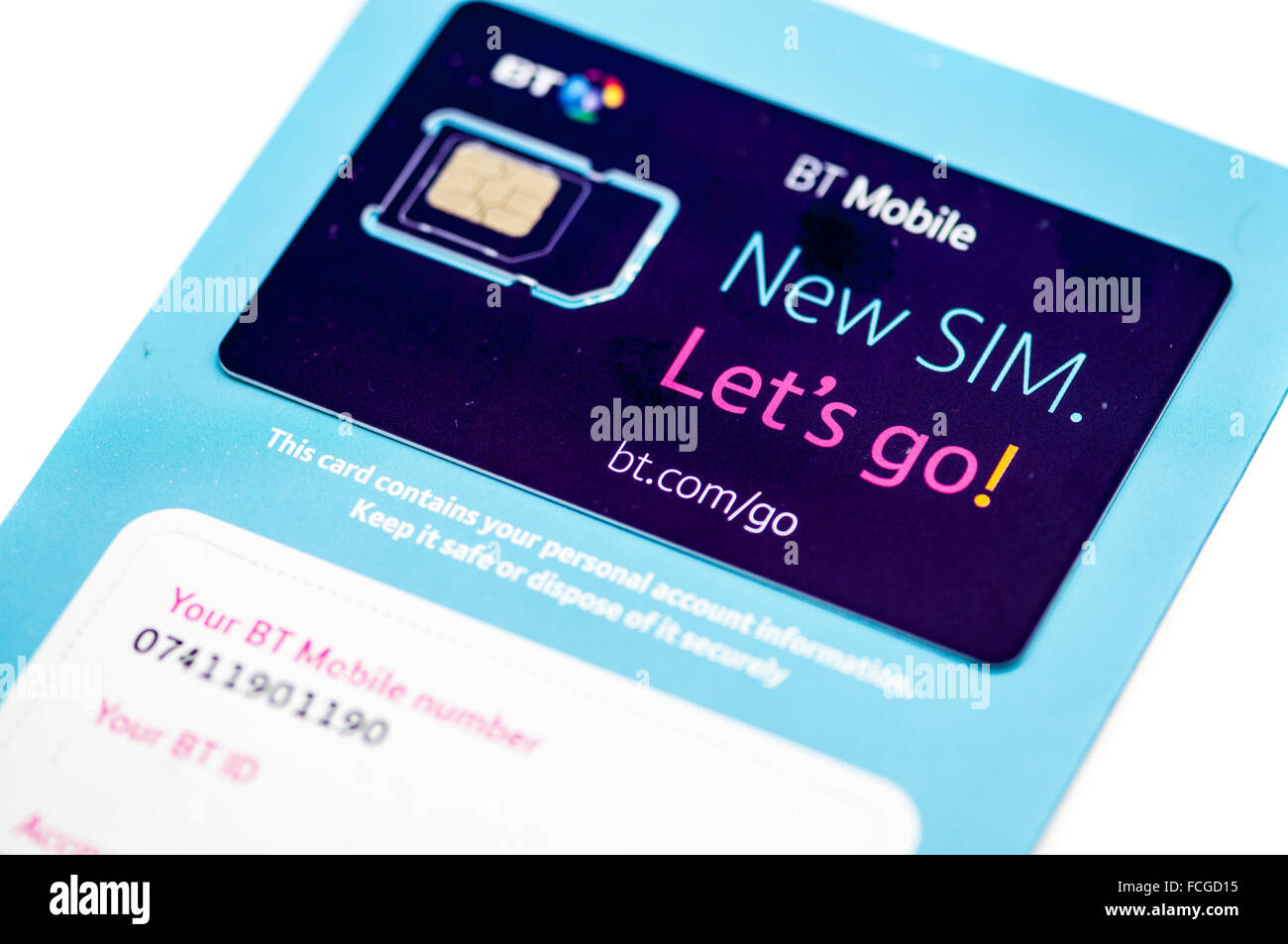 BT Mobile SIM card.  BT has recently bought EE and are in the process of merging its MVNO with EE. - Stock Image