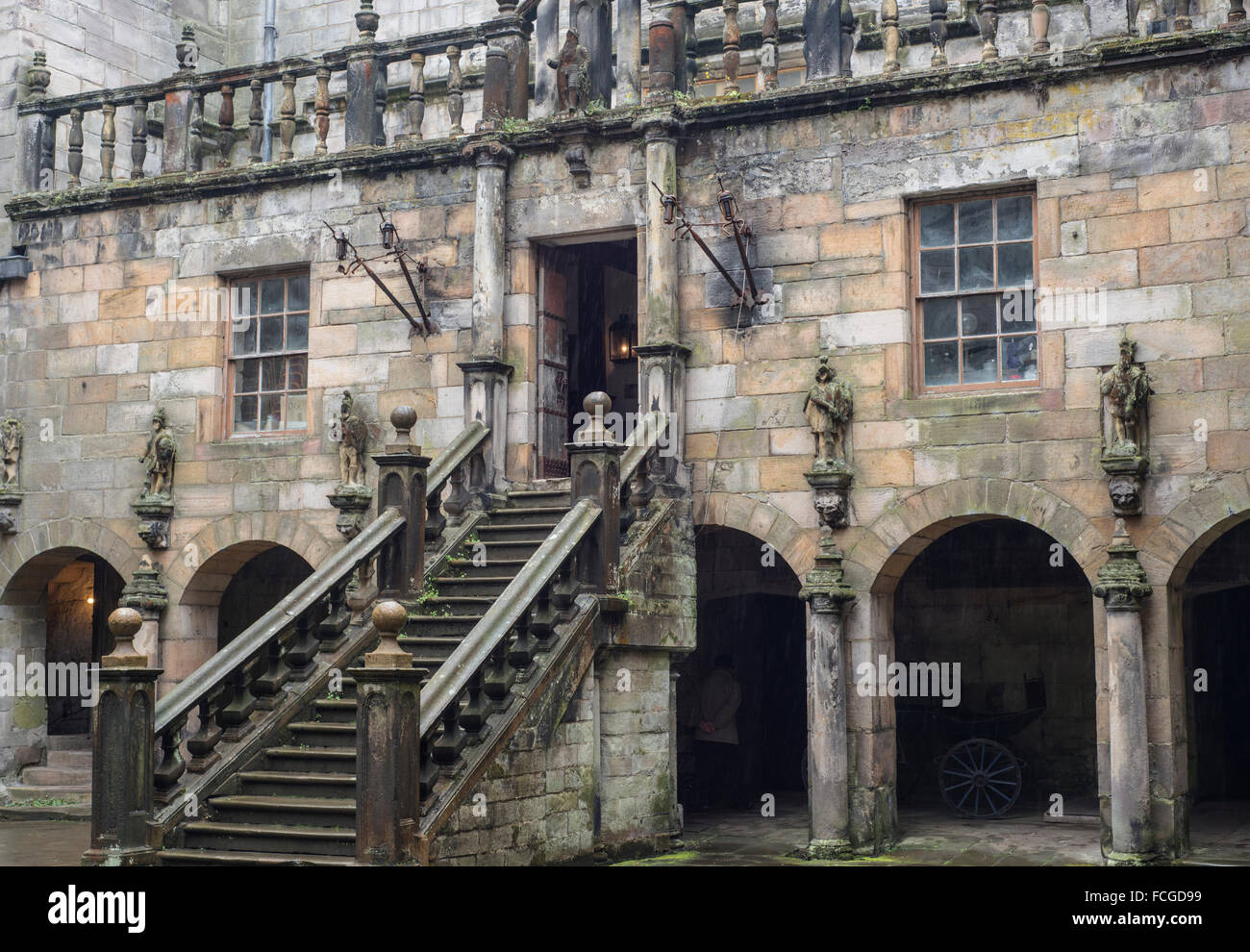 Exterior of Chillingham Castle, Northumberland, reputedly the most haunted castle in England - Stock Image