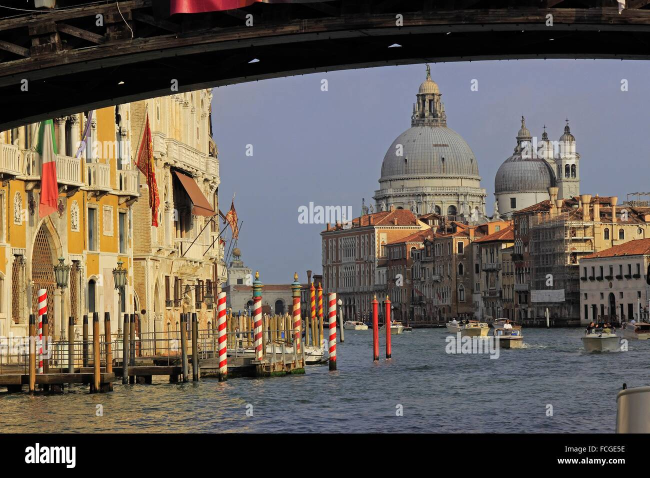 Venice Italy Grand Canal architecture from Academia Bridge. - Stock Image