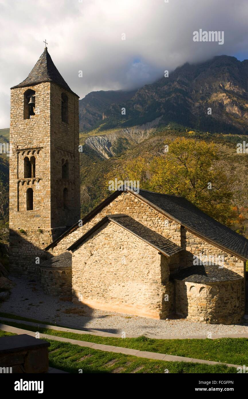 Sant Joan de Boi romanesque church. Vall de Boi, Lleida, Catalonia, Spain - Stock Image