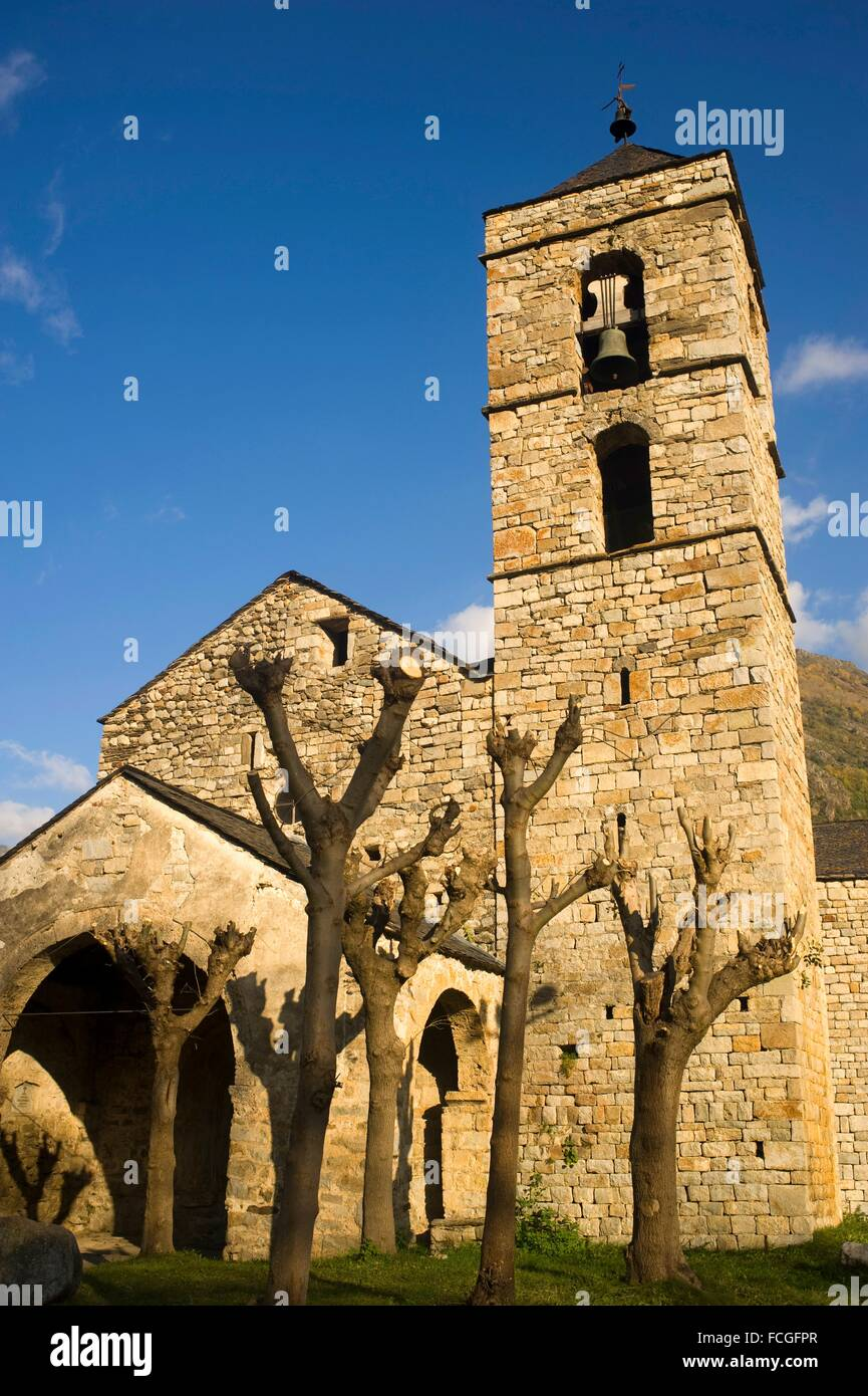 Sant Feliu de Barruera romanesque church. Vall de Boi, Lleida, Catalonia, Spain - Stock Image
