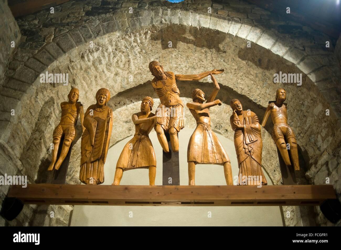 Santa Eulalia romanesque church in Erill la Vall. Vall de Boi, Lleida, Catalonia Spain. Descent from the Cross wooden Stock Photo