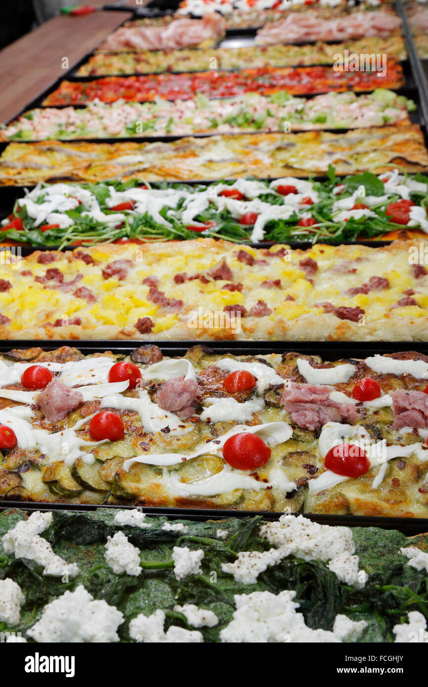 Pizza baking trays in a Pizzeria in Rome, Italy - Stock Image