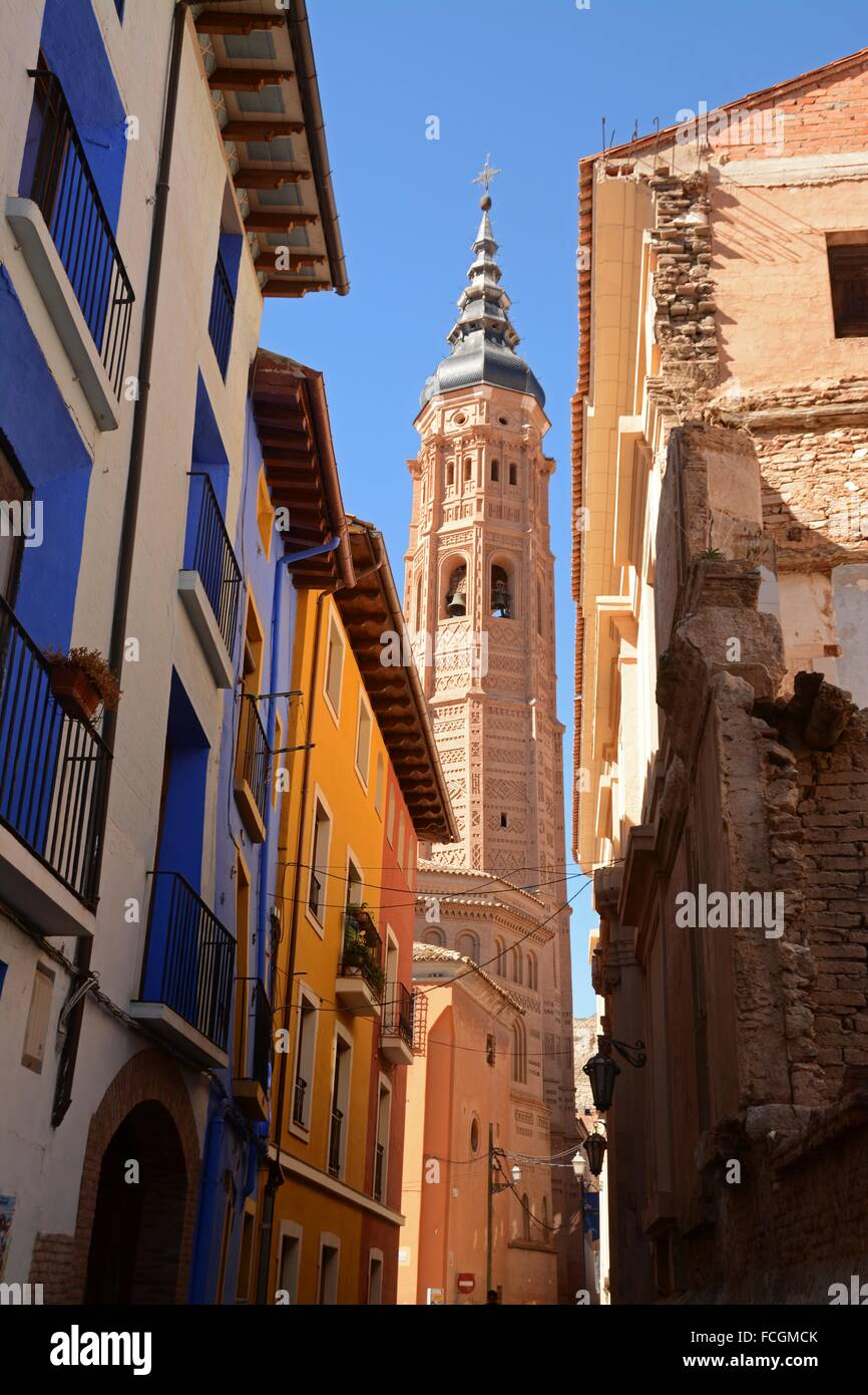 Tower of the Real Colegiata de Santa María la Mayor. Calatayud, Zaragoza, Aragon, Spain, Europe - Stock Image