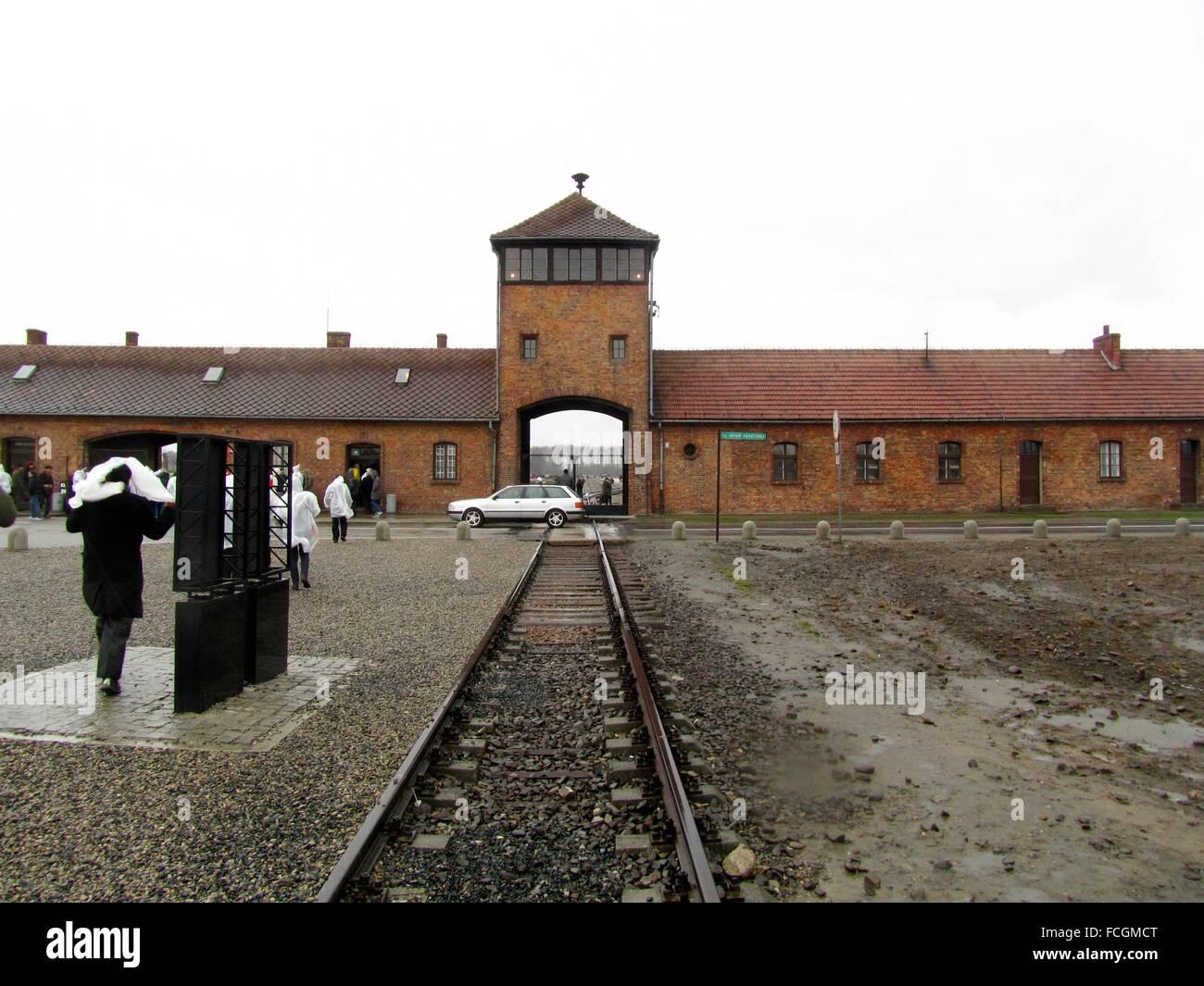 Auschwitz II - Birkenau Extermination Camp main entrance. Oswiecim, Poland, Europe. - Stock Image