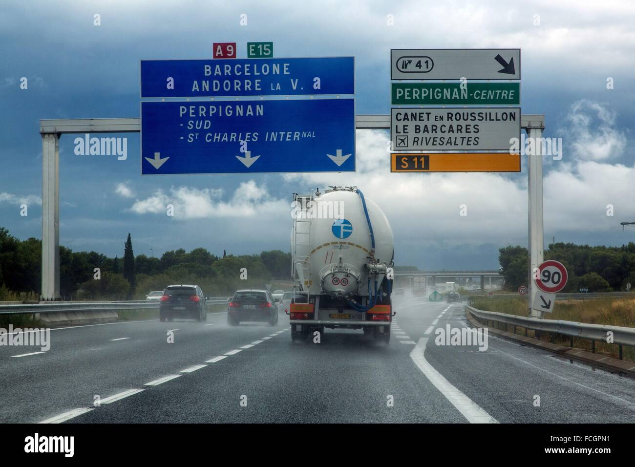 ILLUSTRATION OF MOTORWAYS, PYRENEES-ORIENTALES (66), LANGUEDOC-ROUSSILLON, FRANCE - Stock Image