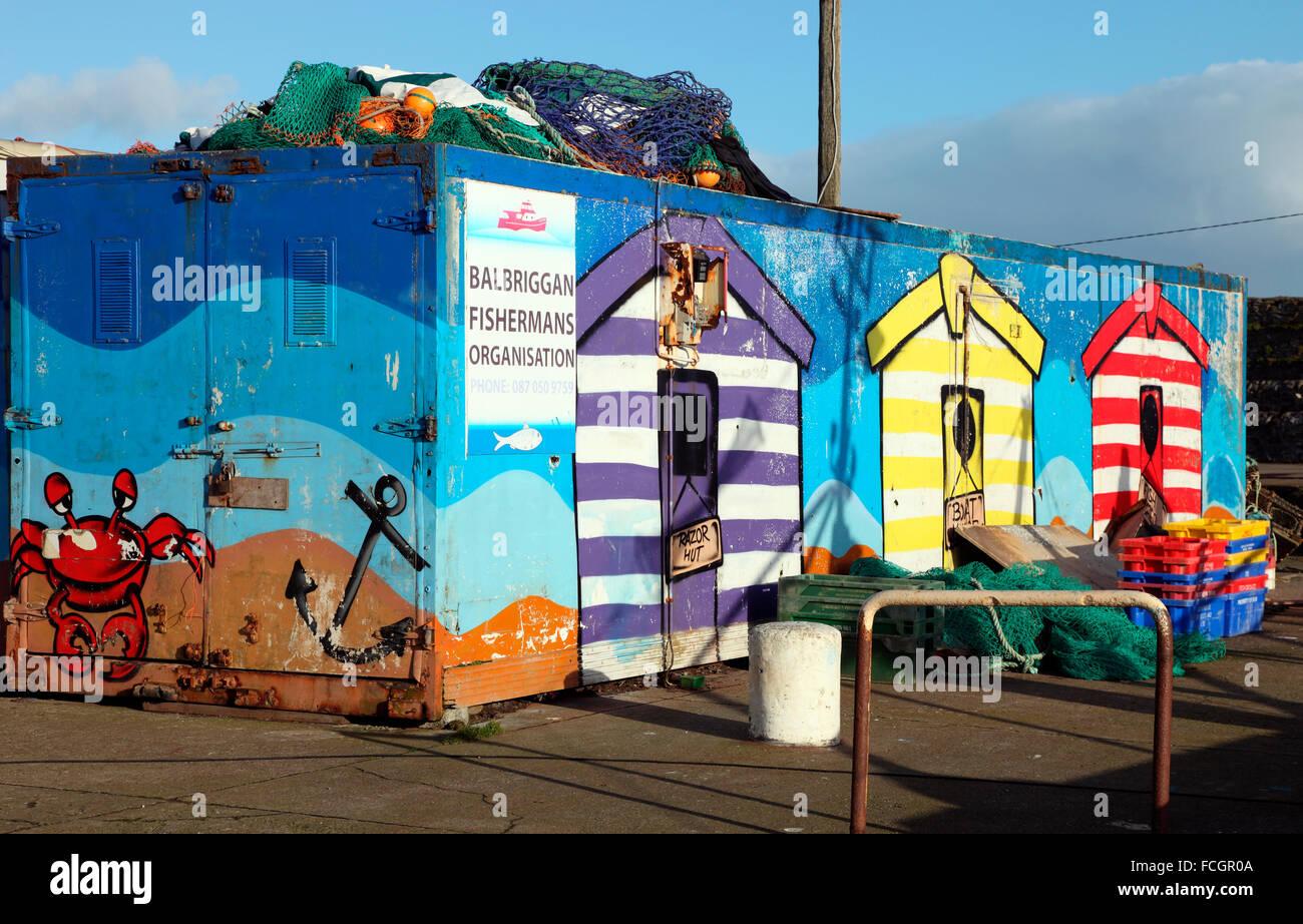 Balbriggan Fishermans Organisation, Balbriggan Harbour - Stock Image