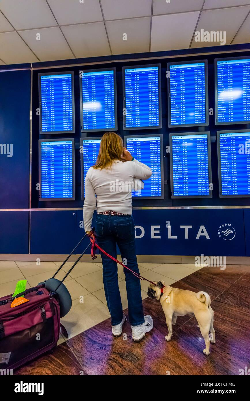 Flight departure screens, Hartsfield-Jackson Atlanta International Airport, Atlanta, Georgia USA. Stock Photo