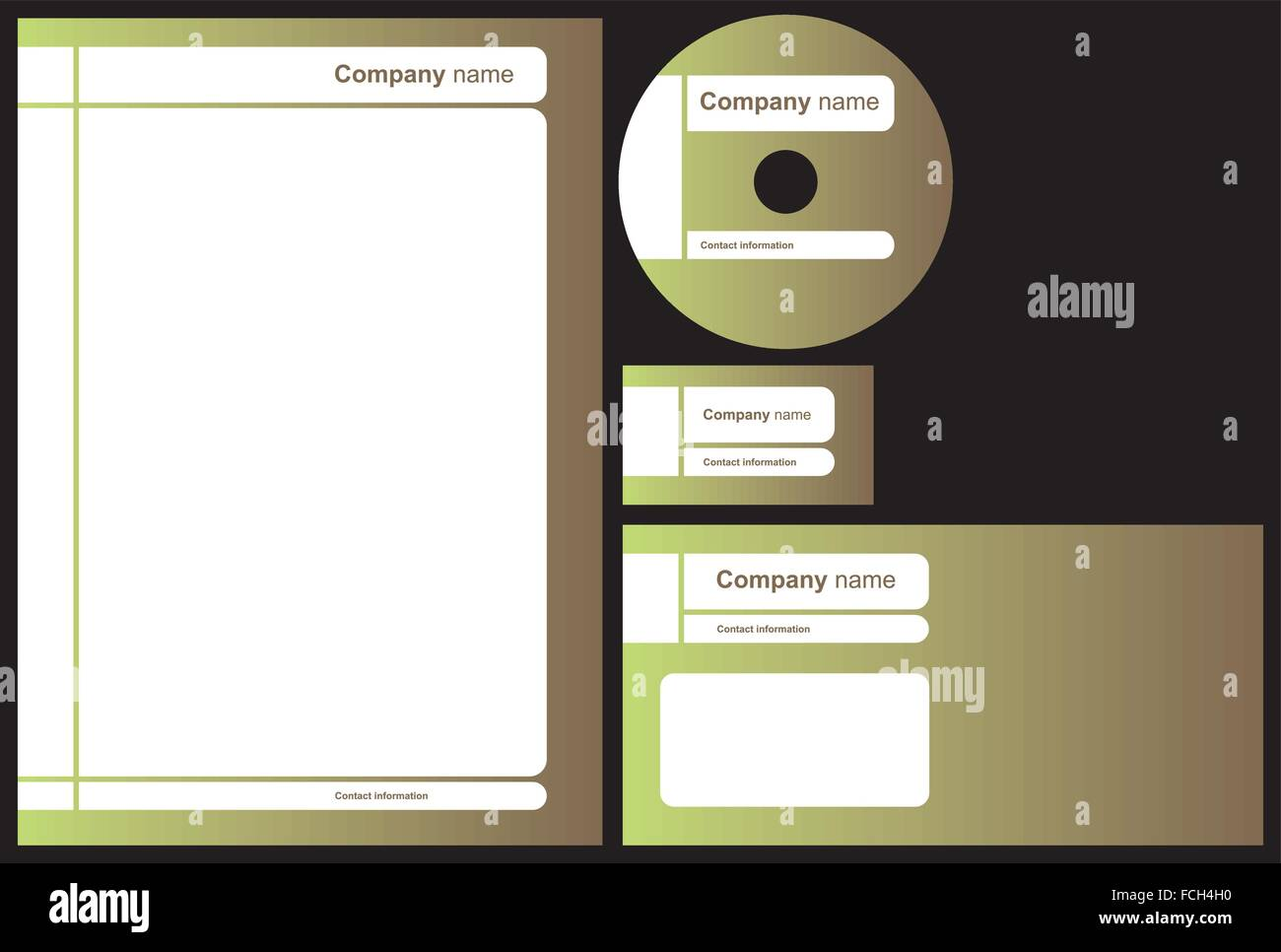 Business package with business card, letterhead, envelope and cd ...