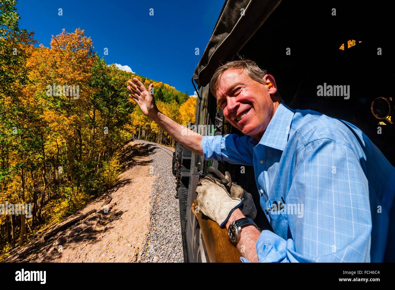 Governor John Hickenlooper (of Colorado) visit aboard the Cumbres & Toltec Scenic Railroad, from Antonito to - Stock Image