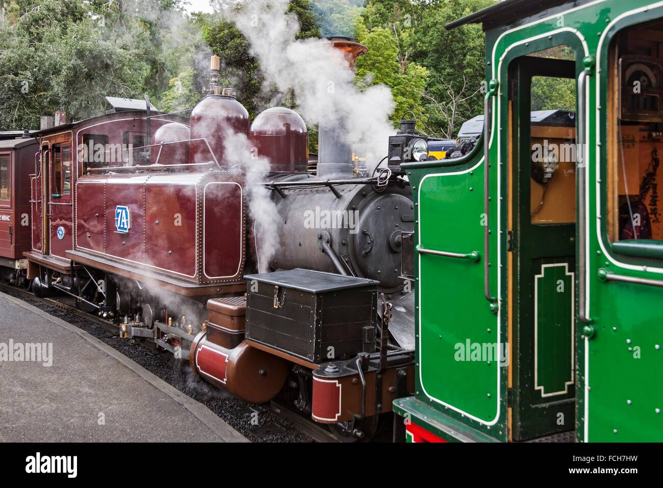 Type NA class 2-6-2T Steam Locomotive of the Puffing Billy Railway narrow gauge heritage railway in the Dandenong - Stock Image