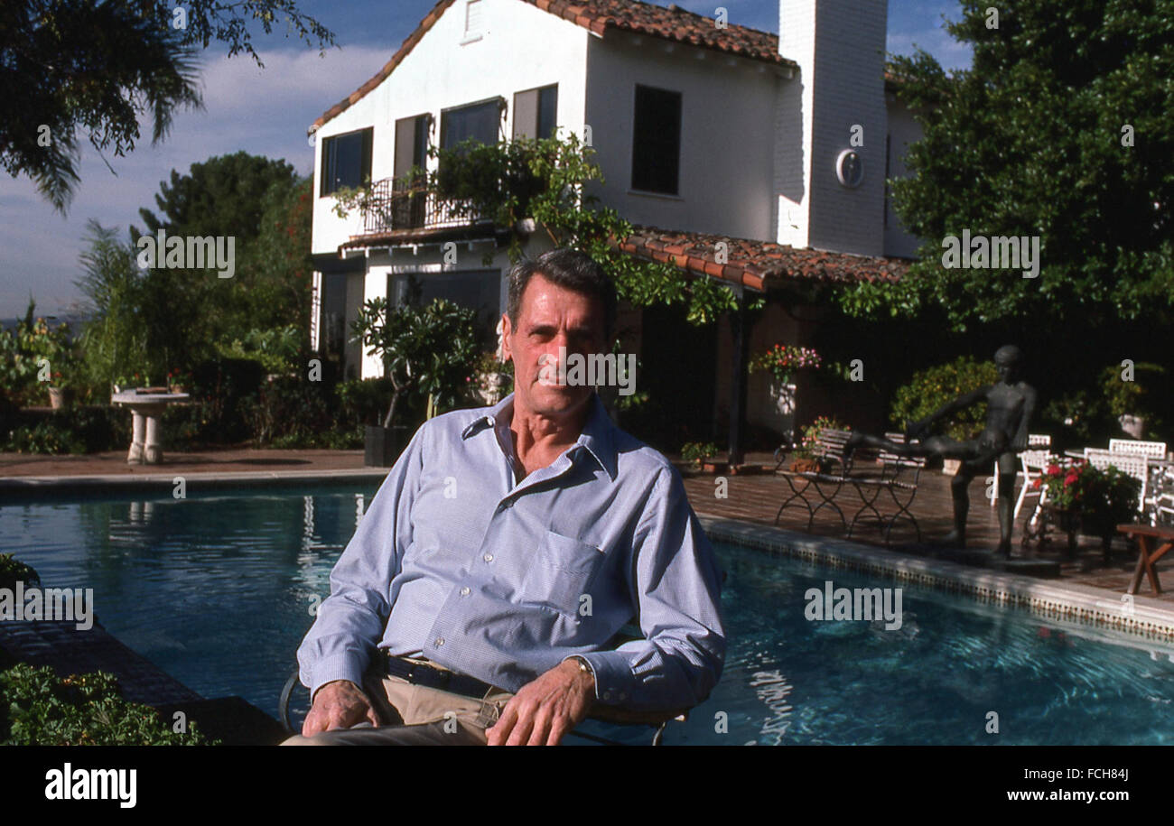 American movie film star actor Rock Hudson at his mansion in Beverly Hills California in 1980s Stock Photo