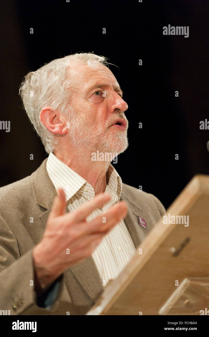 Jeremy Corbyn, leader of the Labour Party gives two separate speeches to a total audience of ten thousand inside - Stock Image