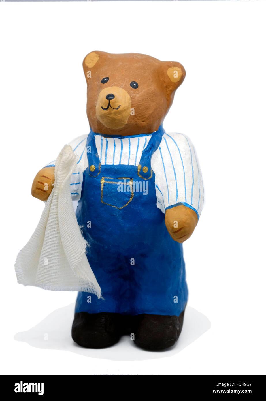 Tiny teddy bear ornament souvenir keepsake - Stock Image