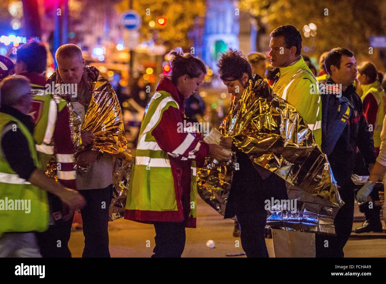 PARIS TERRORIST ATTACK AT THE BATACLAN COMMITTED BY MEMBERS OF ISIS, ISLAMIC STATE, 11TH ARRONDISSEMENT, PARIS (75), - Stock Image
