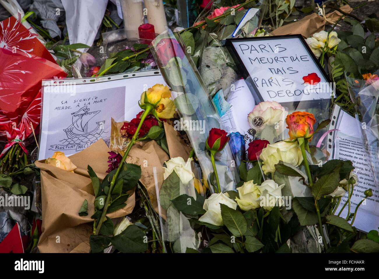 PARIS TERRORIST ATTACKS COMMITTED BY MEMBERS OF ISIS, ISLAMIC STATE, 11TH ARRONDISSEMENT, PARIS (75), ILE DE FRANCE, - Stock Image