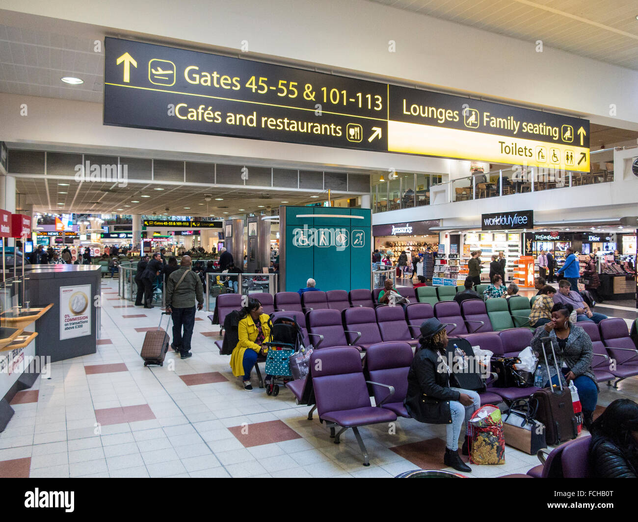 Departure lounge Gatwick Airport - Stock Image