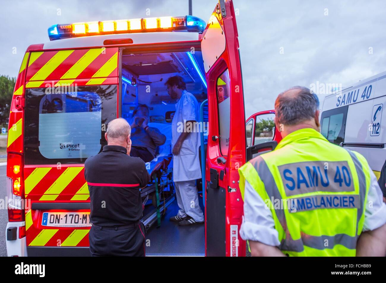ILLUSTRATION EMERGENCY MEDICAL SERVICE AND FIREFIGHTERS Stock Photo