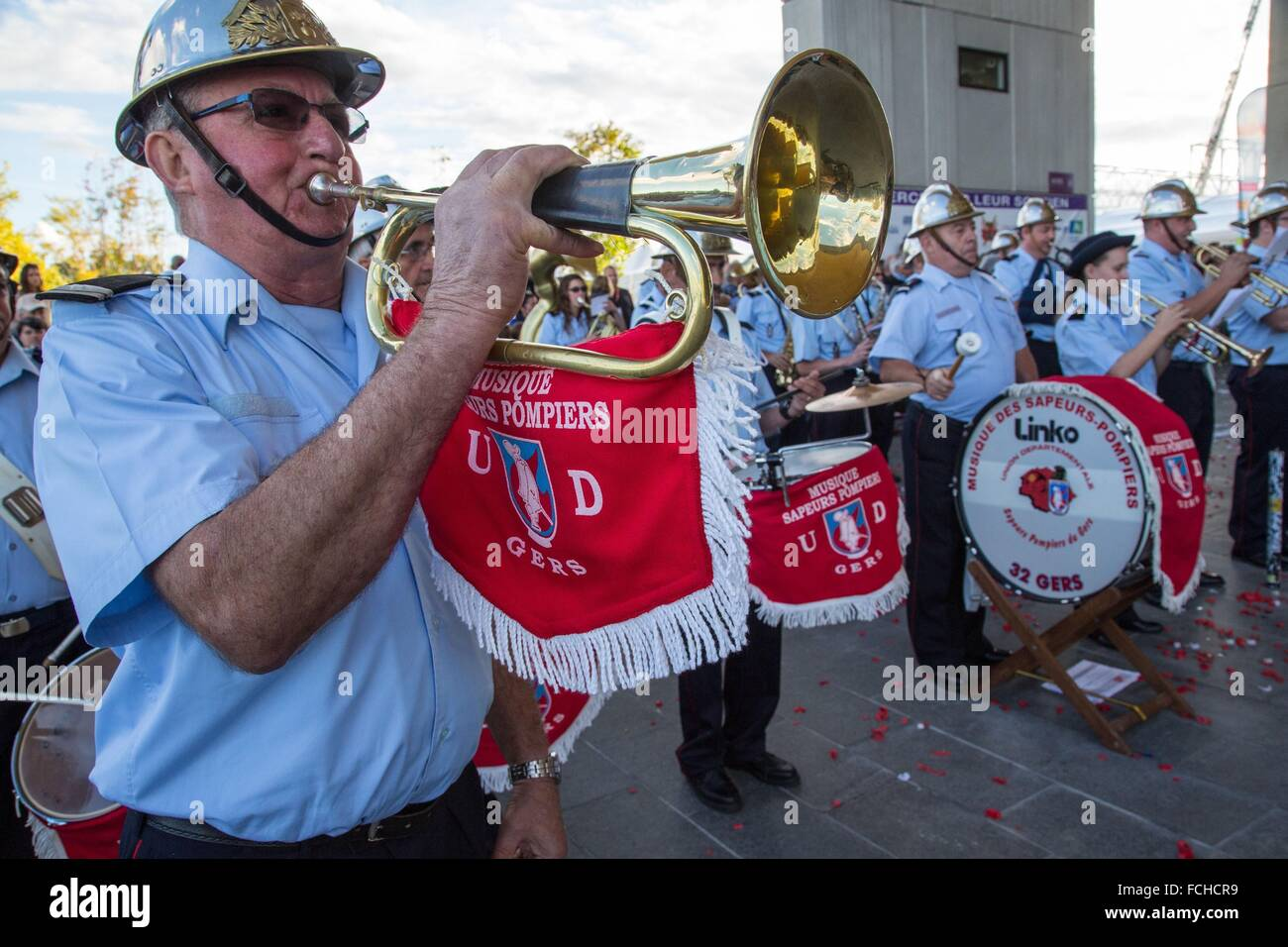 MUSIC AT THE GERS FIRE DEPARTMENT - Stock Image