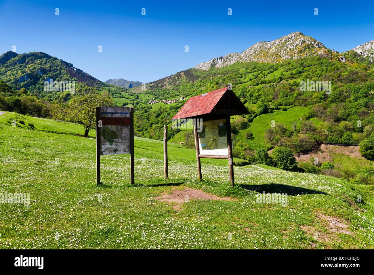 Indicators in Las Xanas. Pedroveya. Asturias. Spain. - Stock Image