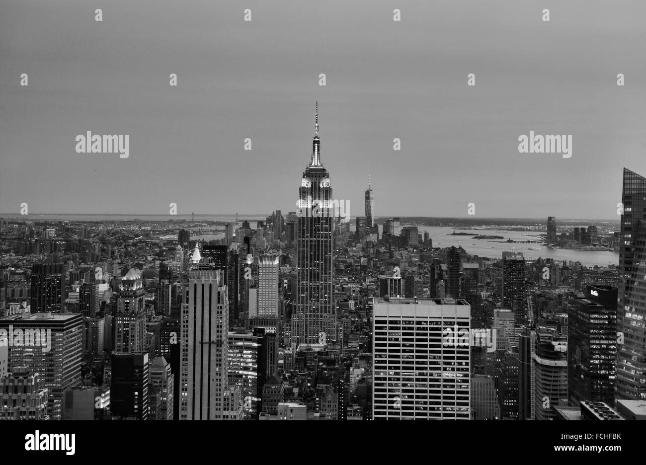 Panoramic view over Manhattan from the top of the rock, New York, USA Stock Photo