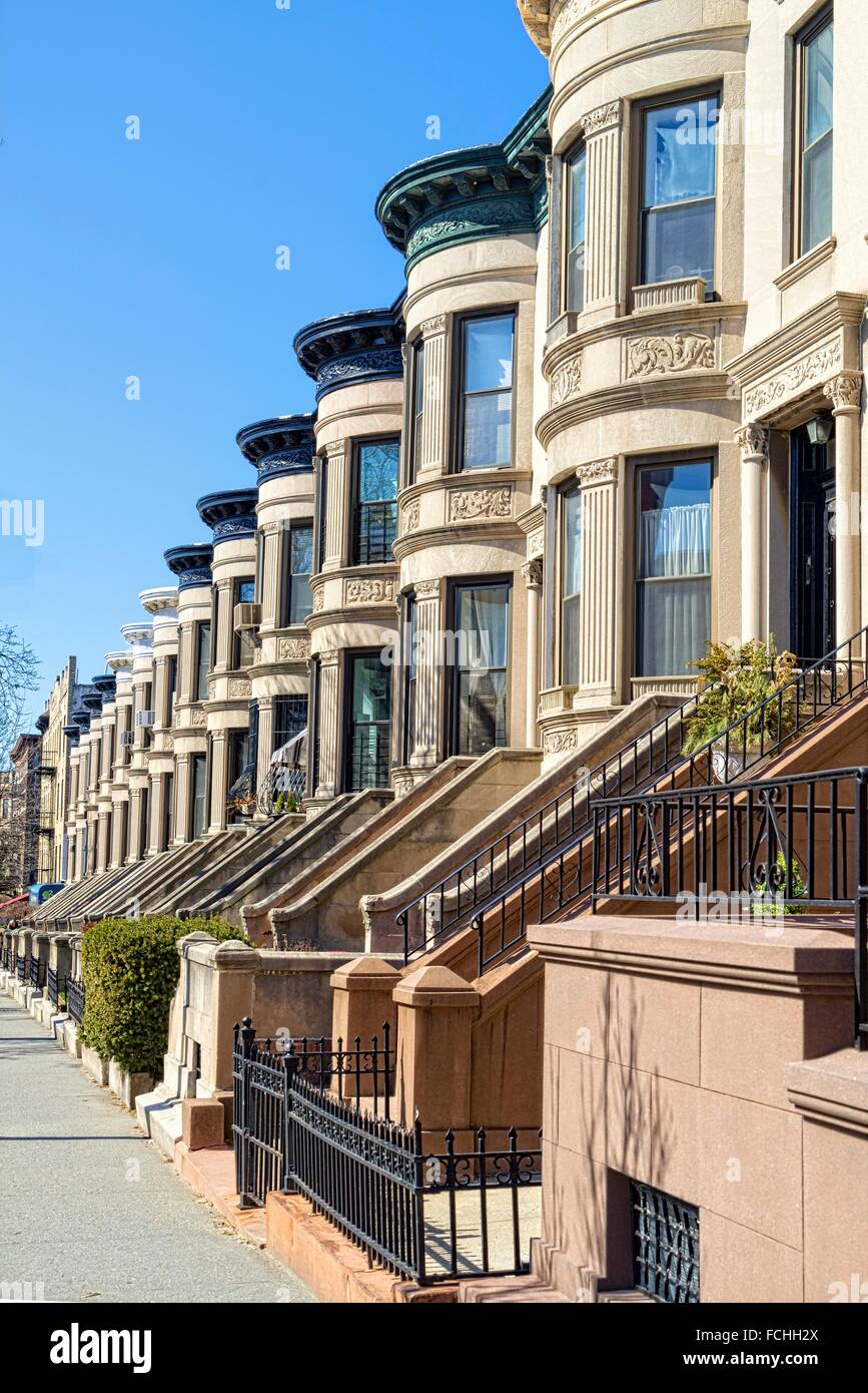 Beautiful, Symmetrical Brownstone Row Houses on East 9th Street, Park Slope, Brooklyn, NY. - Stock Image