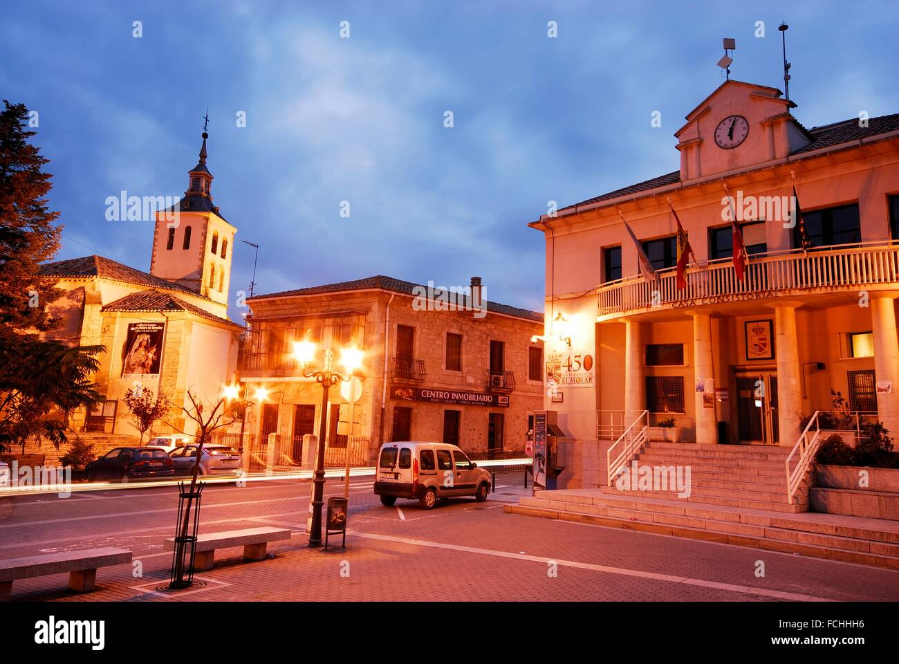 Town hall square of El Molar, Madrid, Spain. - Stock Image