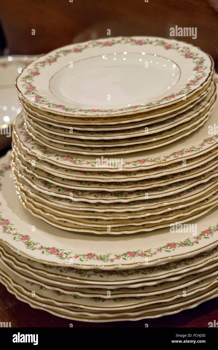 Fine China Dishes Stacked and offered for sale in a New York City Thrift Shop. & Fine China Dishes Stacked and offered for sale in a New York City ...