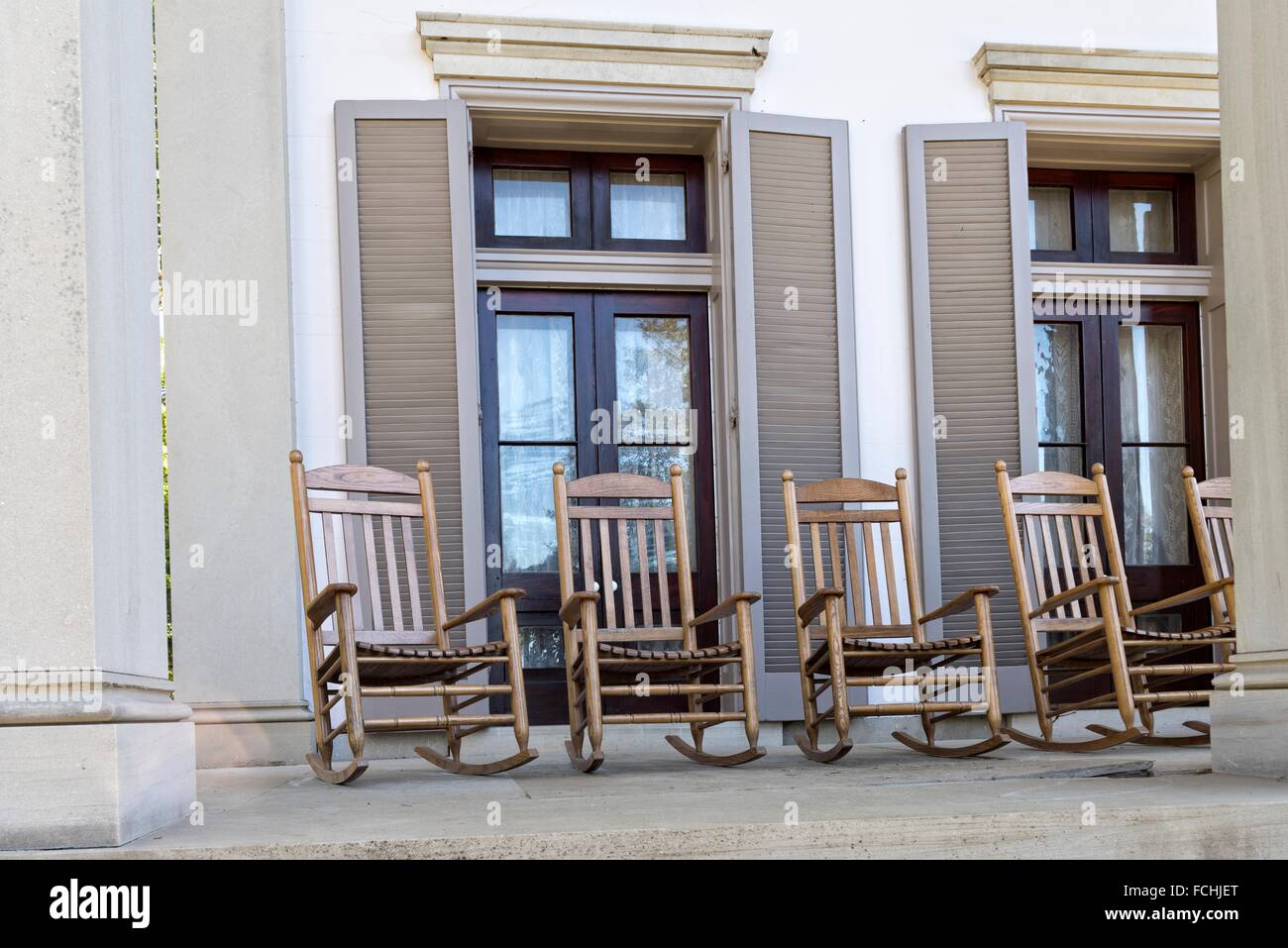 Rocking Chairs On The Front Porch, Main House, Mansion, Belle Meade  Plantation, Nashville, TN.