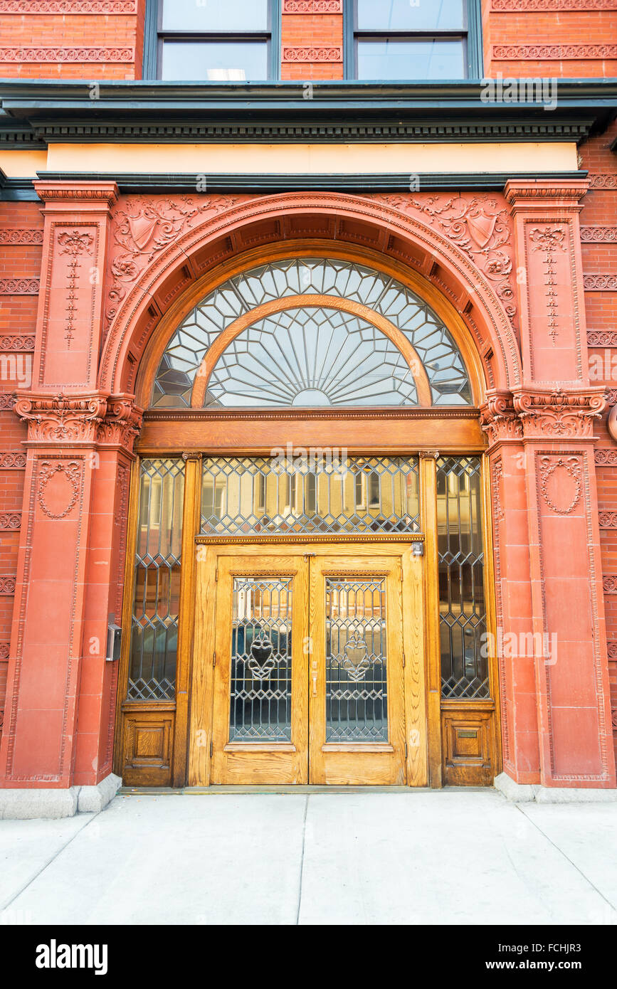 Entrance of an old historic building in Butte, Montana - Stock Image