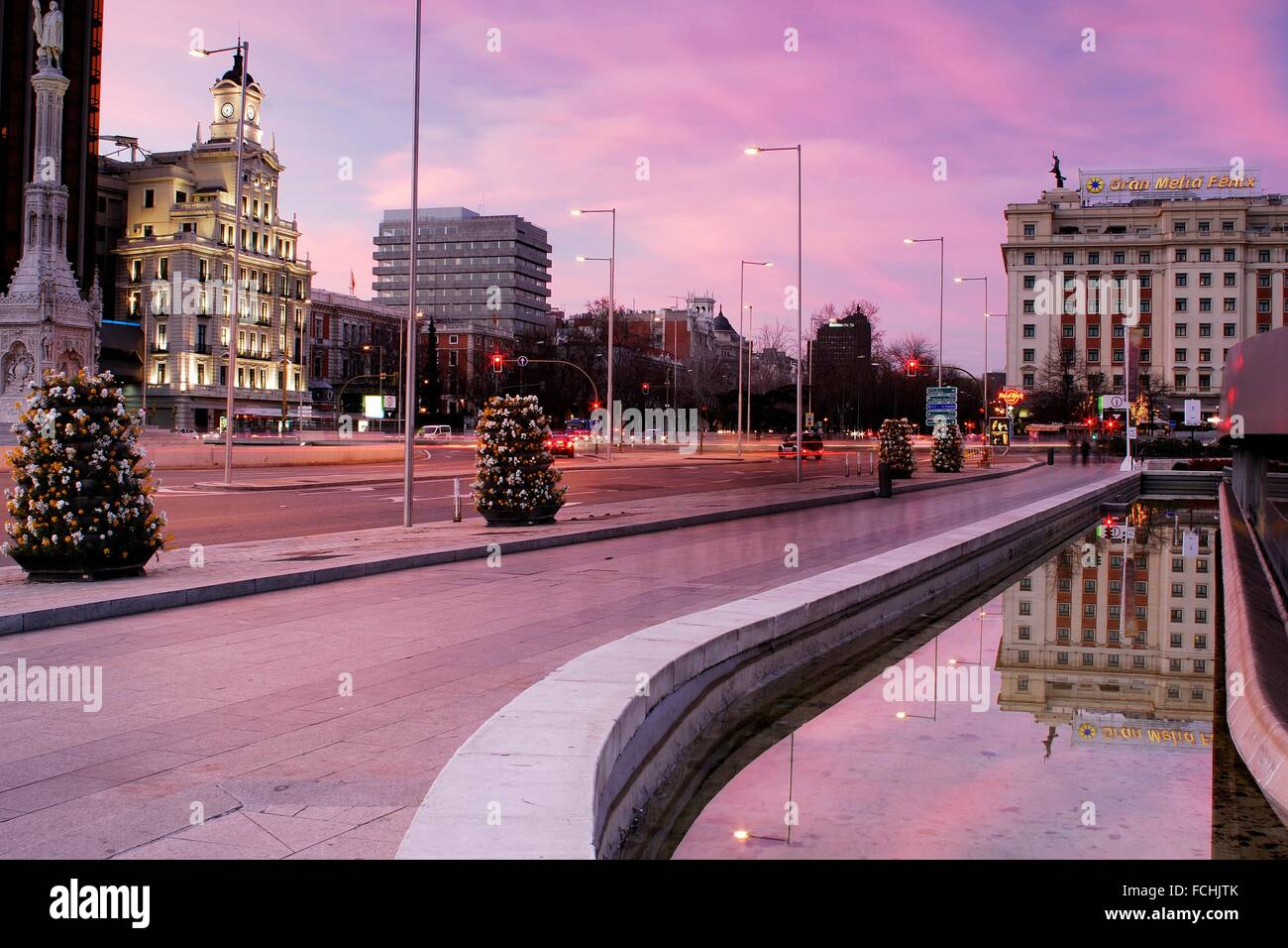 Colon square between Castellana and Recoletos promenades in Madrid, Spain. - Stock Image
