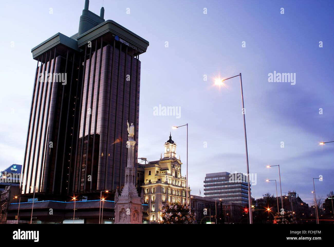 Colon towers between Castellana and Recoletos promenades in Madrid, Spain. - Stock Image